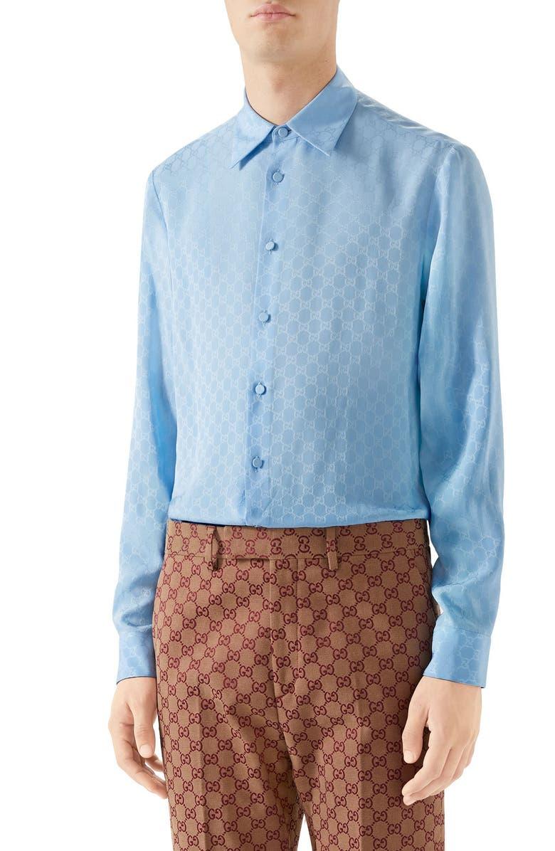 GUCCI GG Silk Crepe Shirt, Main, color, SKY