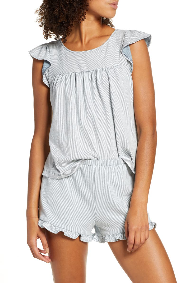 MADEWELL Ruffle-Hem Pajama Top, Main, color, 400