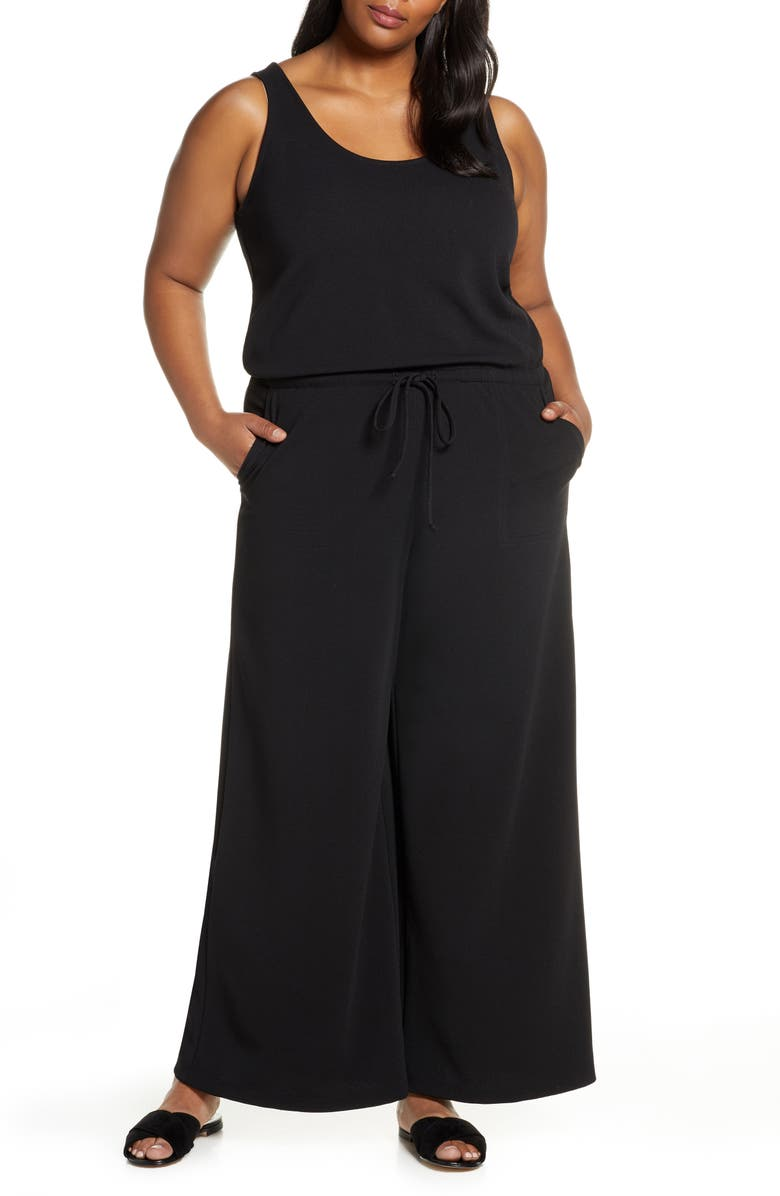 GIBSON x City Safari Jaime Shrayber Wide Leg Jumpsuit, Main, color, BLACK