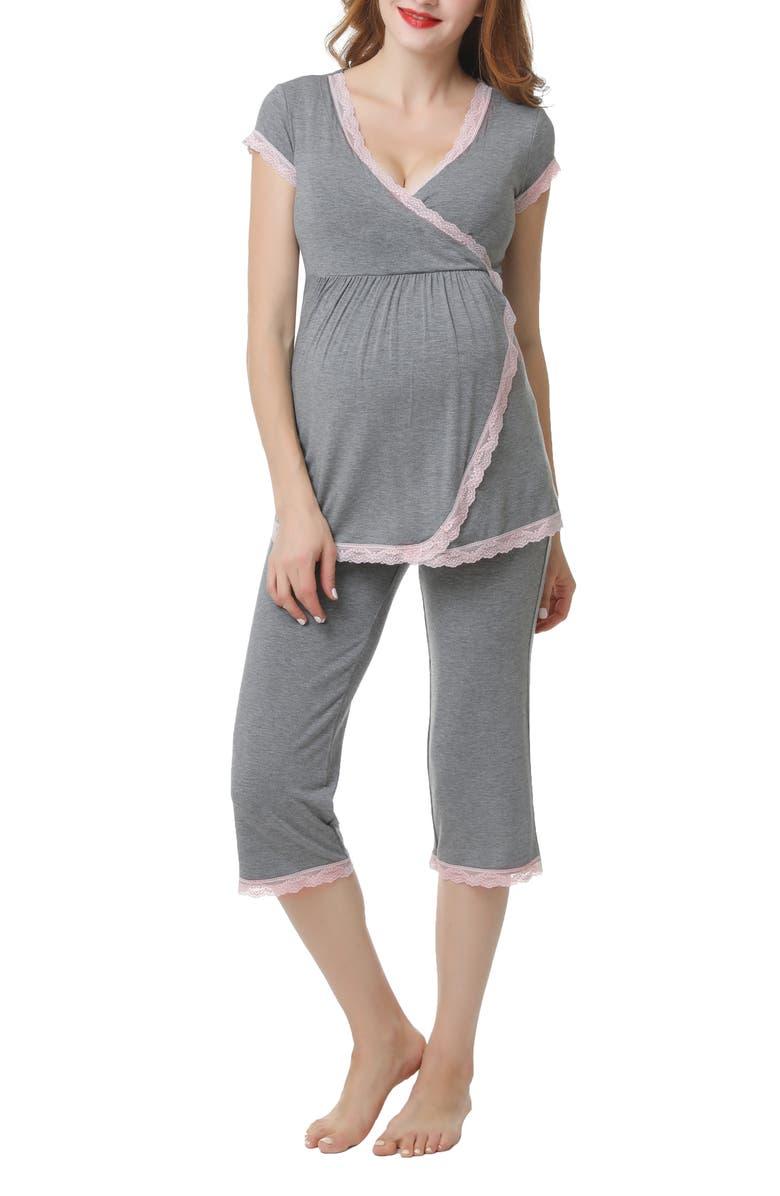 KIMI AND KAI Cindy Nursing/Maternity Pajamas, Main, color, DARK HEATHER GRAY