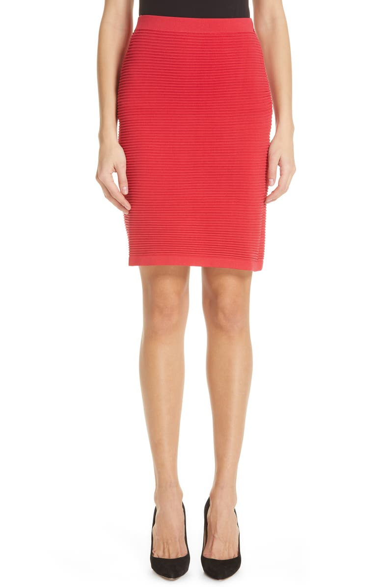 EMPORIO ARMANI Rib Knit Pencil Skirt, Main, color, 600