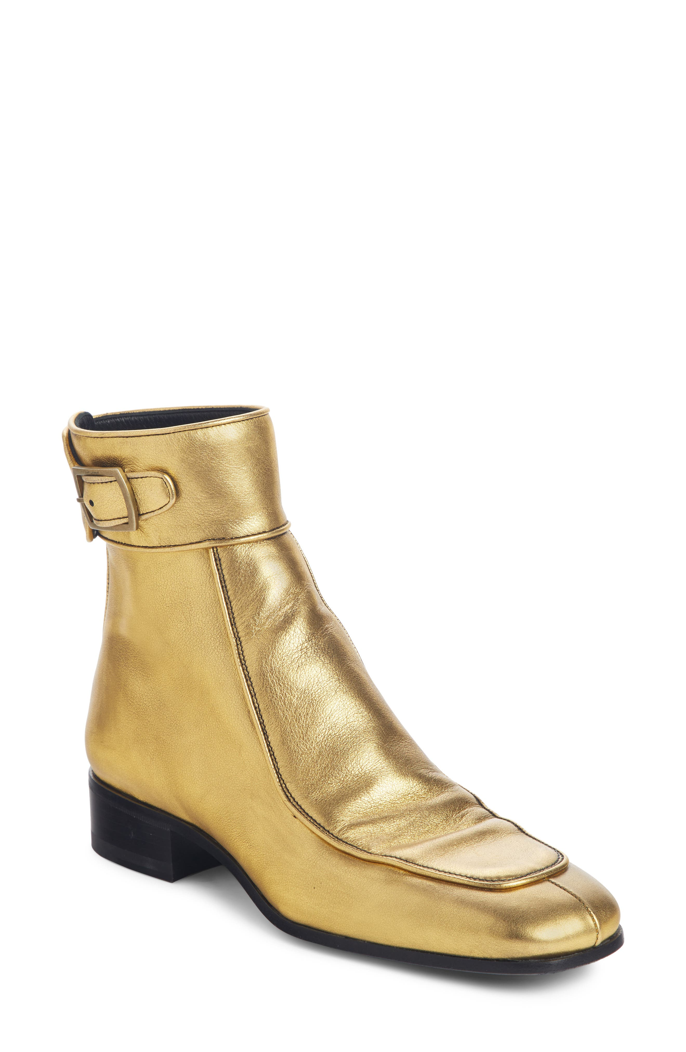 Saint Laurent Miles Buckle Cuff Boot - Metallic