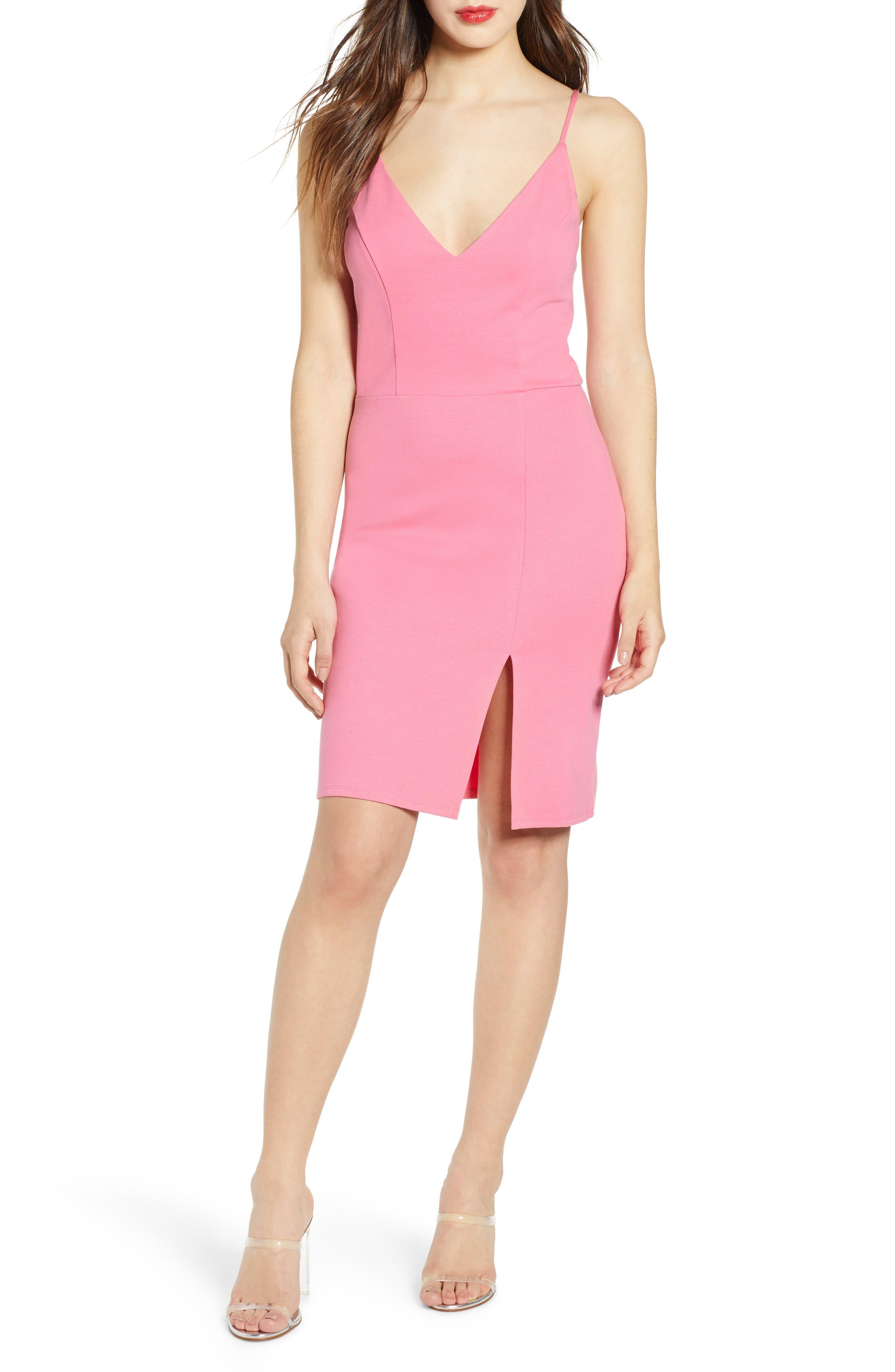 Leith V-Neck Body-Con Dress, Pink