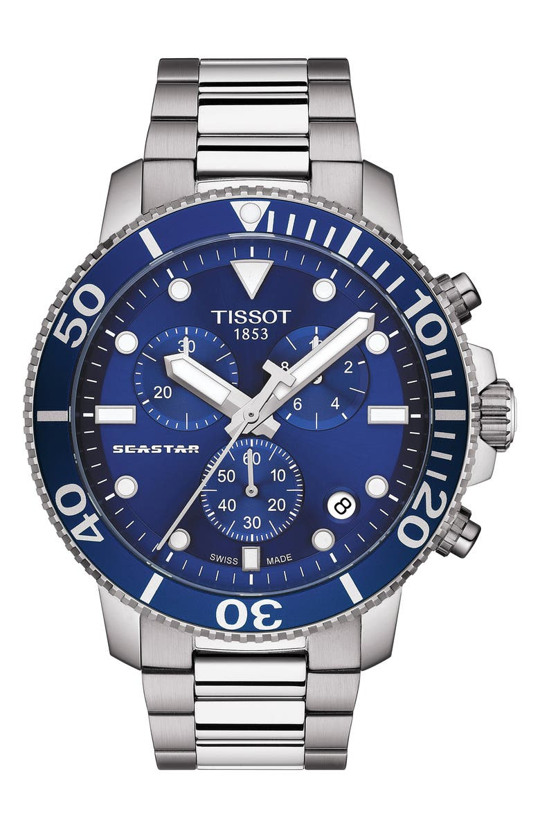 TISSOT Seastar 1000 Chronograph Bracelet Watch, 45.5mm, Main, color, SILVER/ BLUE/ SILVER