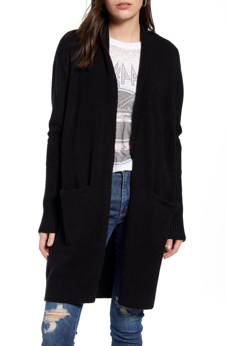 TREASURE & BOND Rib Knit Detail Cardigan, Main, color, BLACK