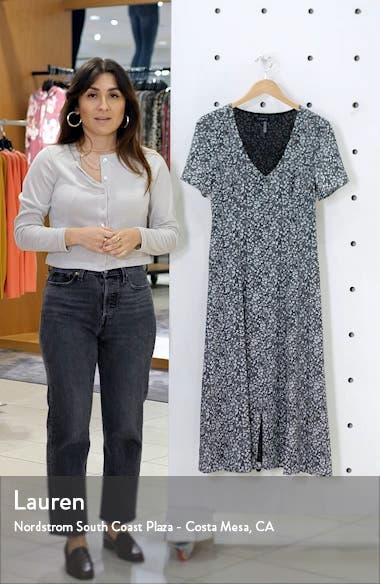 Floral Folk Silhouette Button Front Midi Dress, sales video thumbnail