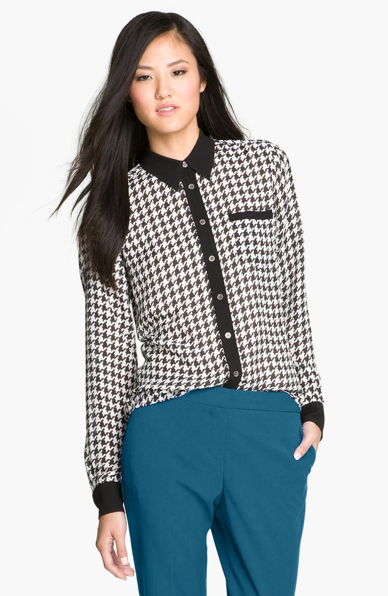 VINCE CAMUTO Contrast Trim Houndstooth Blouse, Main, color, 001