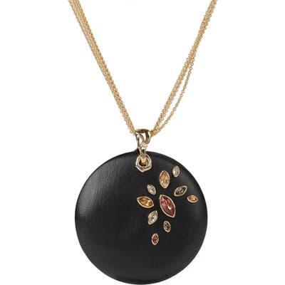 Alexis Bittar Asteria Nova Navette Crystal Large Disc Pendant Necklace