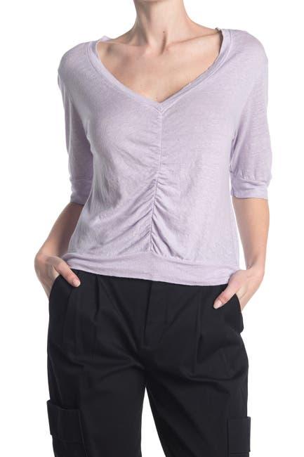 Image of Stateside Linen Jersey V-Neck Ruched Top