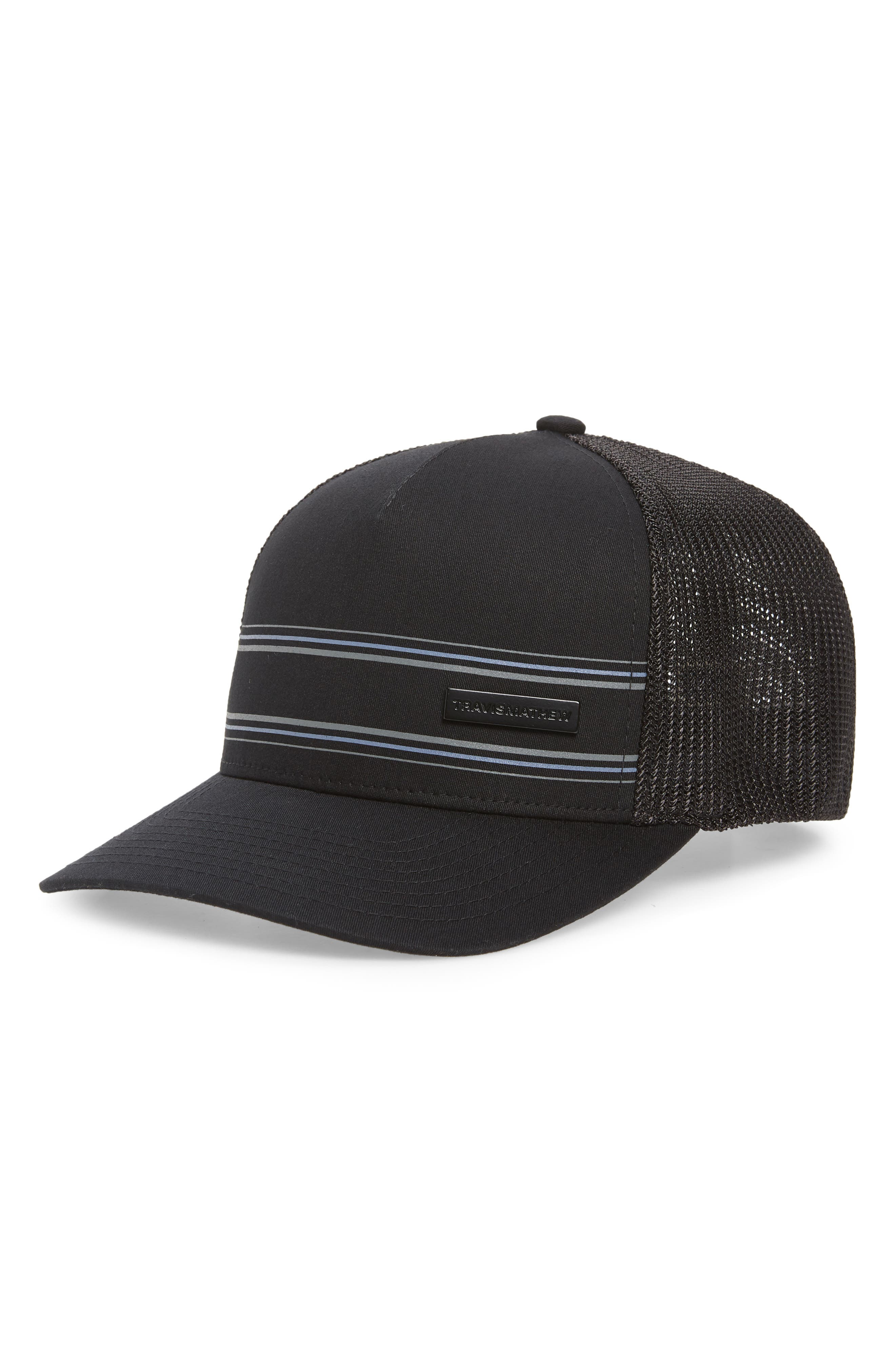 Sharp stripes punch up a golfer\\\'s hat with mesh at the back for cool comfort. Style Name: Travismathew Free Dive Trucker Hat. Style Number: 6127841. Available in stores.