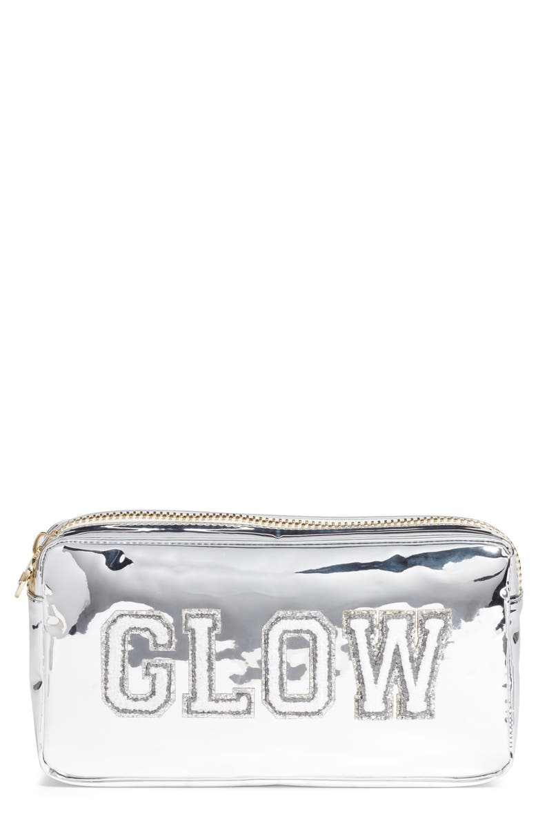 STONEY CLOVER LANE Glow Small Patent Makeup Bag, Main, color, SILVER
