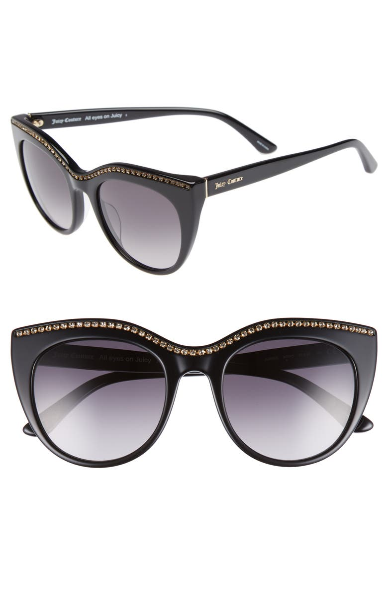 JUICY COUTURE 51mm Cat Eye Sunglasses, Main, color, BLACK