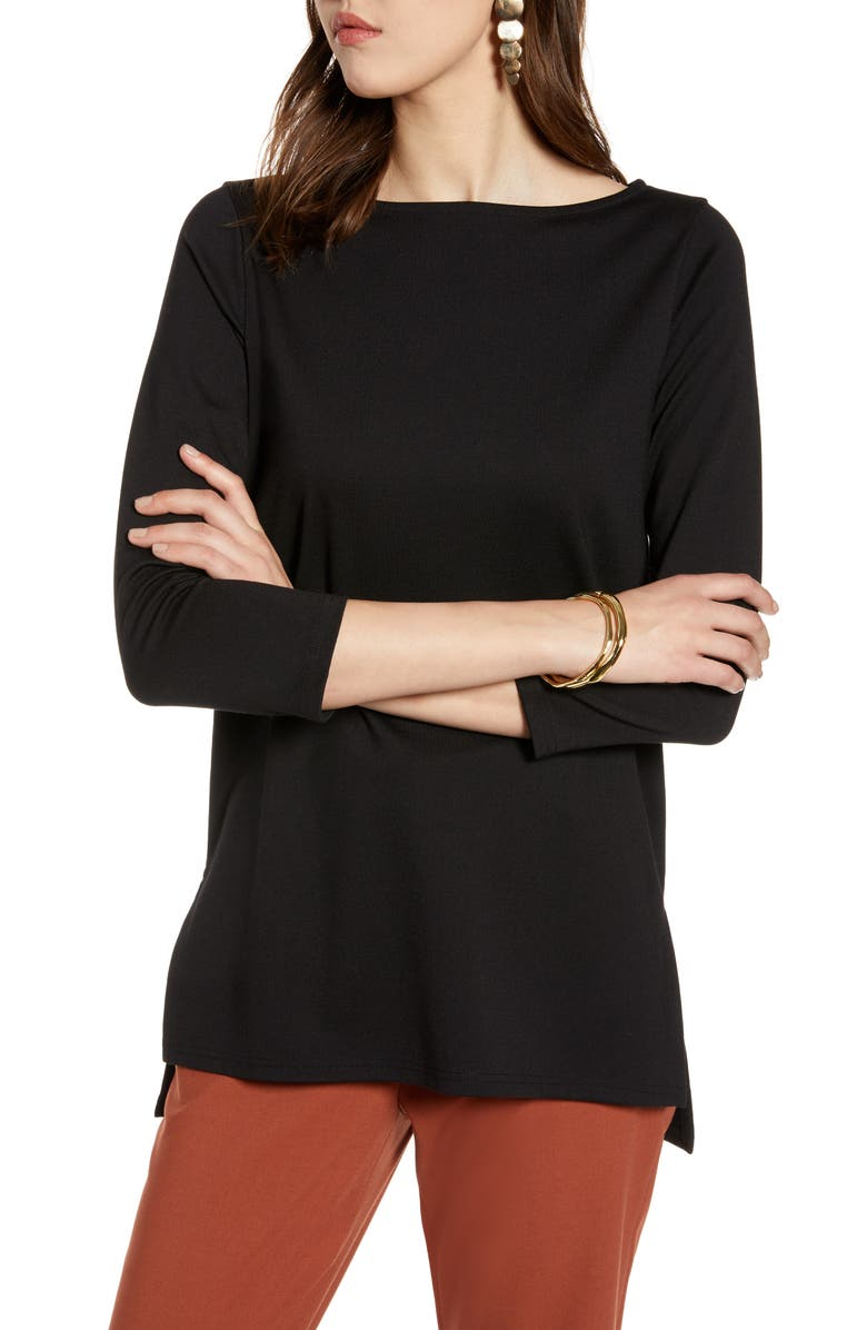 HALOGEN<SUP>®</SUP> Boat Neck Ponte Knit Tunic, Main, color, 001
