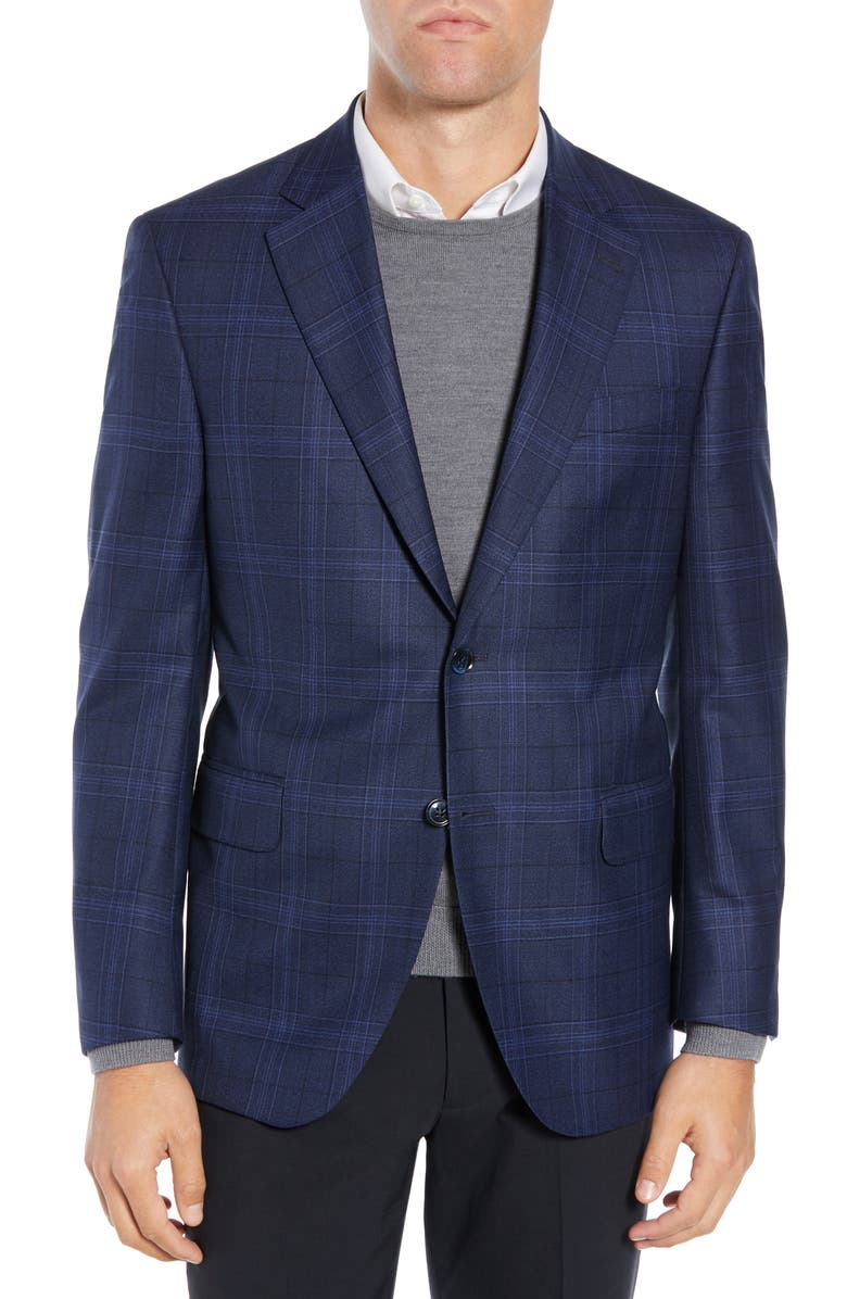 PETER MILLAR Classic Fit Navy Plaid Sport Coat, Main, color, NAVY