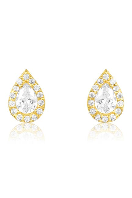 Image of Sterling Forever 14K Gold Vermeil Plated Sterling Silver CZ Teardrop Stud Earrings