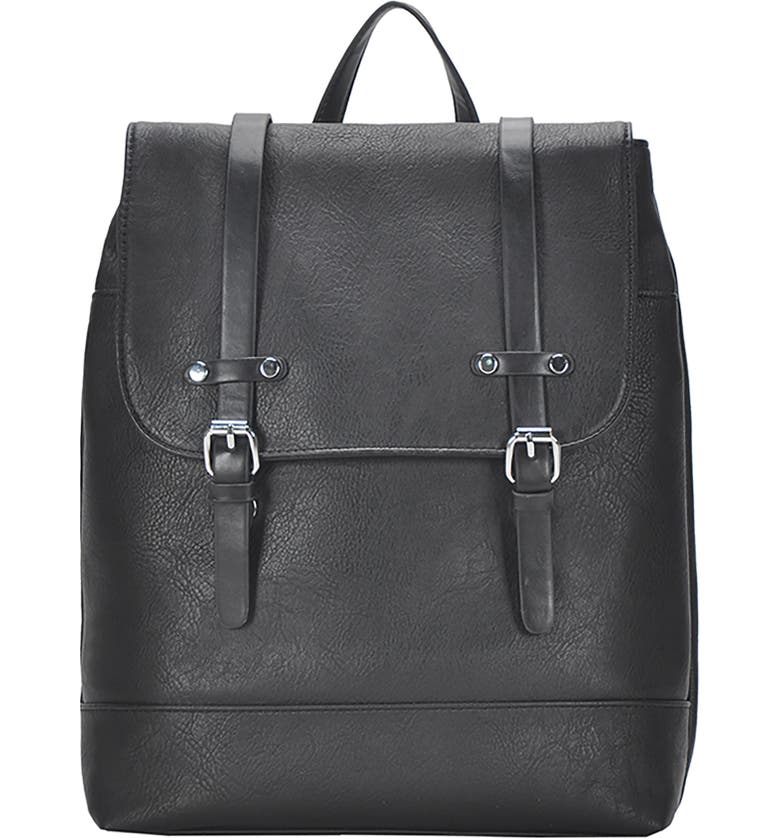ANTIK KRAFT Schoolboy Faux Leather Backpack, Main, color, BLACK