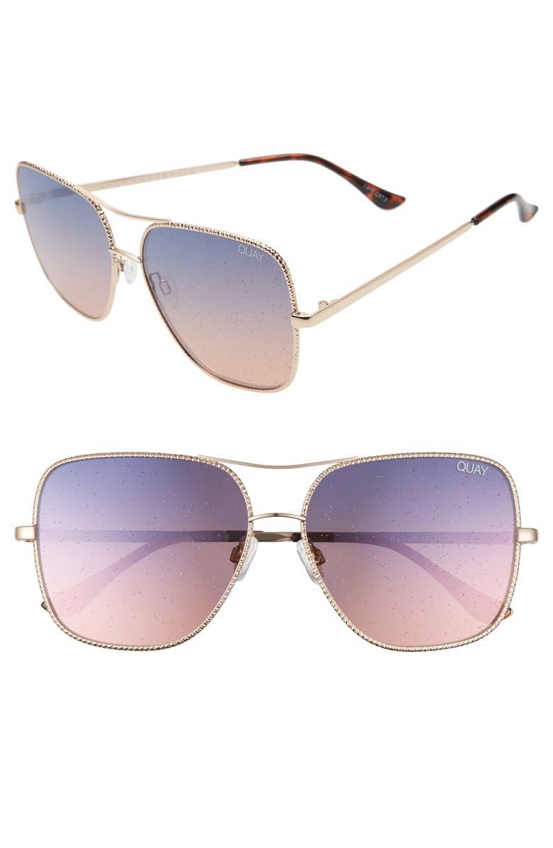 QUAY AUSTRALIA Stop & Stare Twist 56mm Sunglasses, Main, color, 710