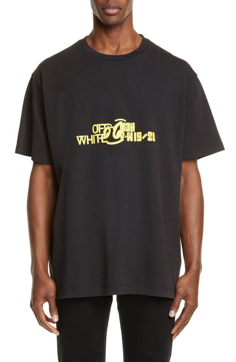 OFF-WHITE Halftone Oversize Graphic T-Shirt, Main, color, BLACK YELLOW