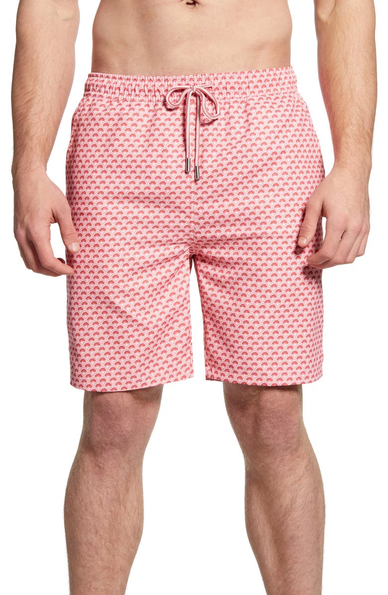 PETER MILLAR Scallop Swim Trunks, Main, color, PALMER PINK