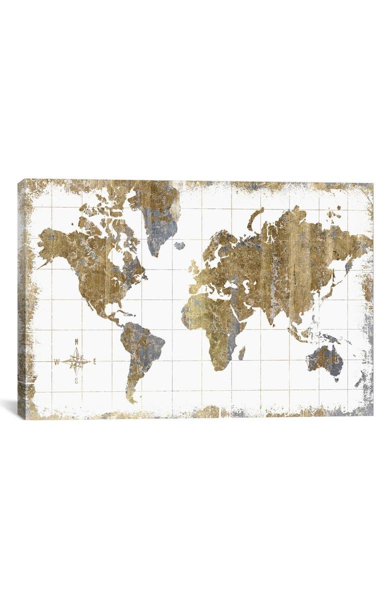 ICANVAS 'Gilded Map' Giclée Print Canvas Art, Main, color, WHITE