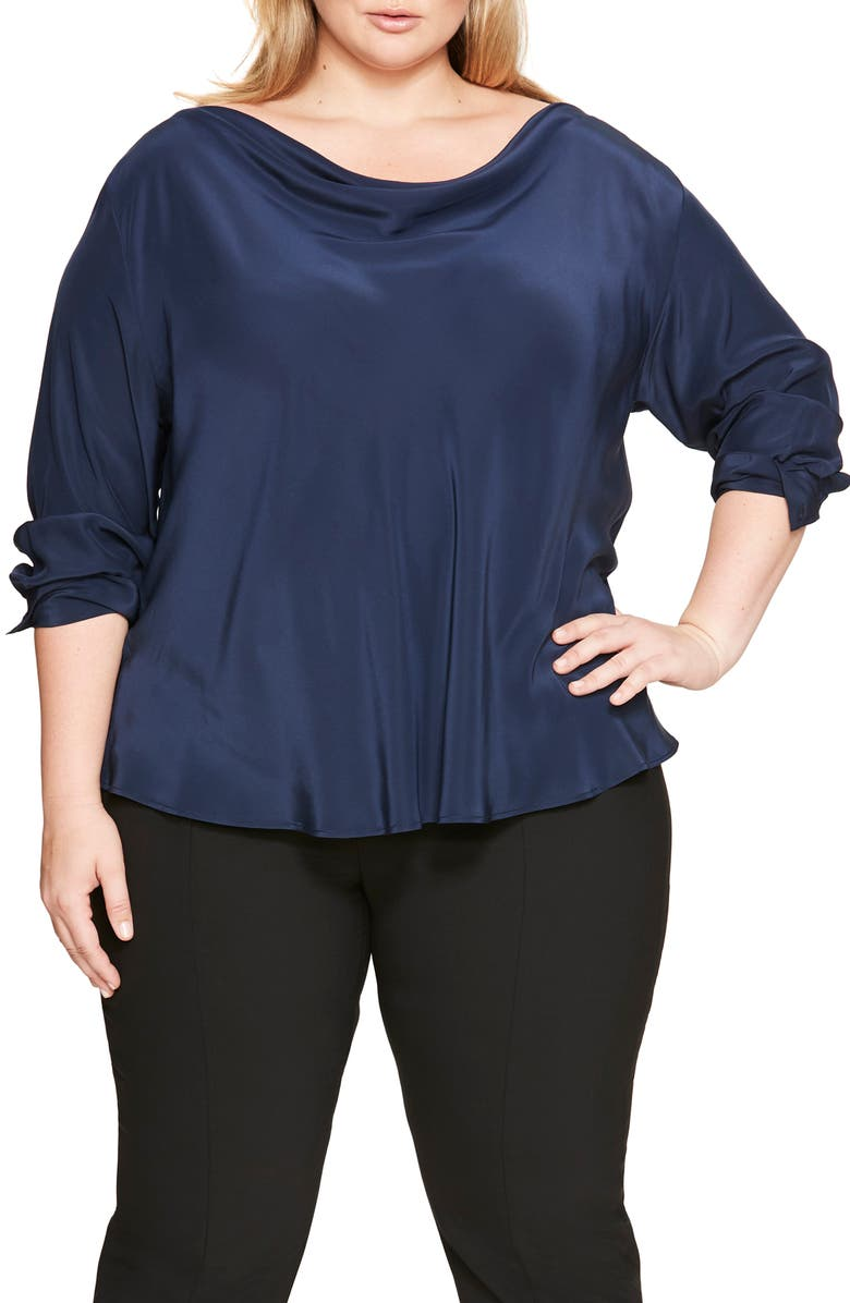 PARI PASSU Silk Top, Main, color, NAVY