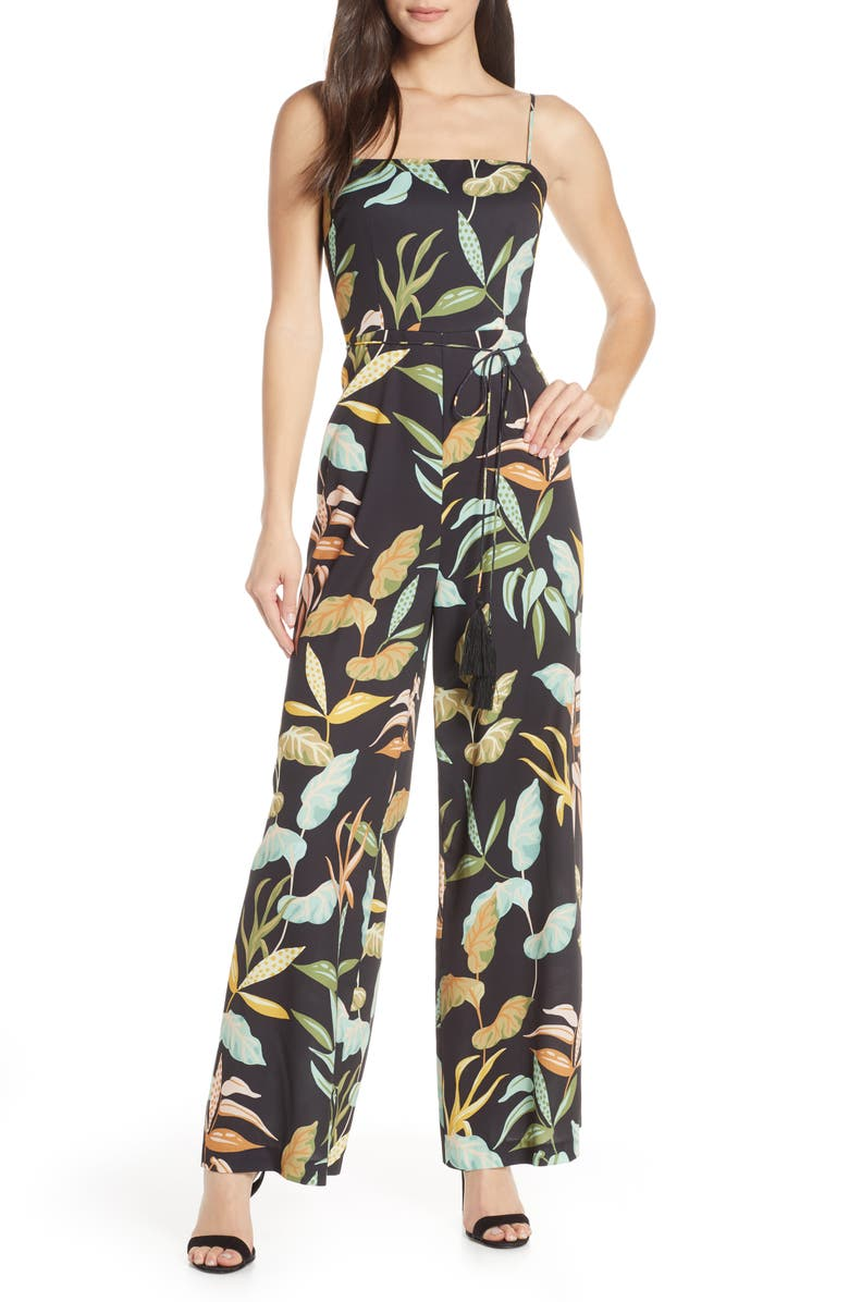 CHELSEA28 Sleeveless Print Jumpsuit, Main, color, TROPICAL PRINT