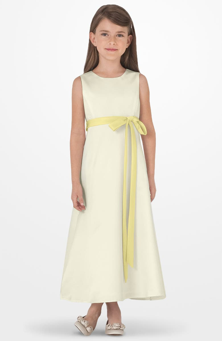 US ANGELS Sleeveless Satin Dress, Main, color, Ivory/ yellow