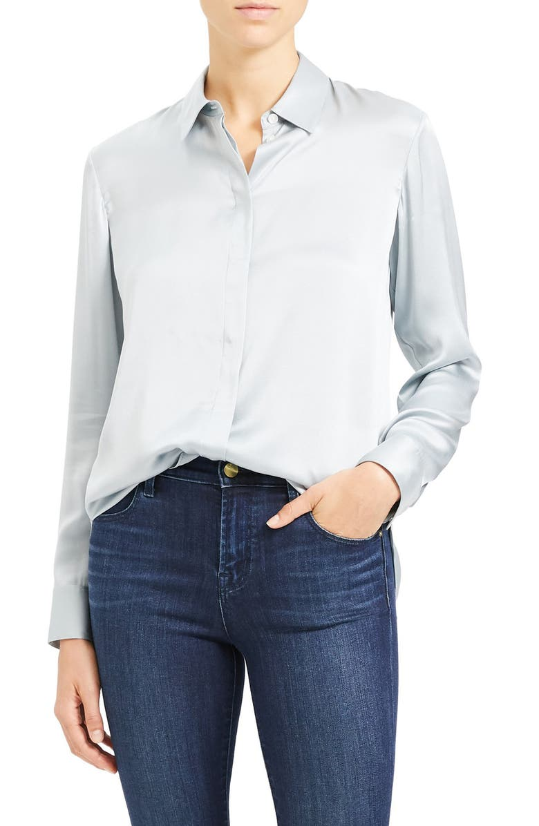 THEORY Silk Button-Up Shirt, Main, color, MIST BLUE