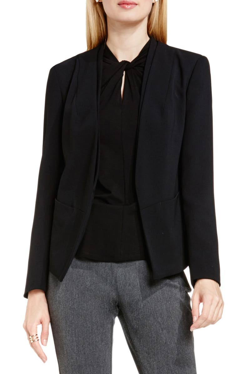 VINCE CAMUTO Collarless Open Front Blazer, Main, color, RICH BLACK