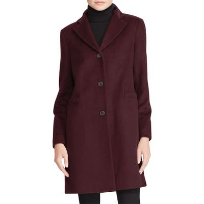 Lauren Ralph Lauren Wool Blend Reefer Coat, Burgundy