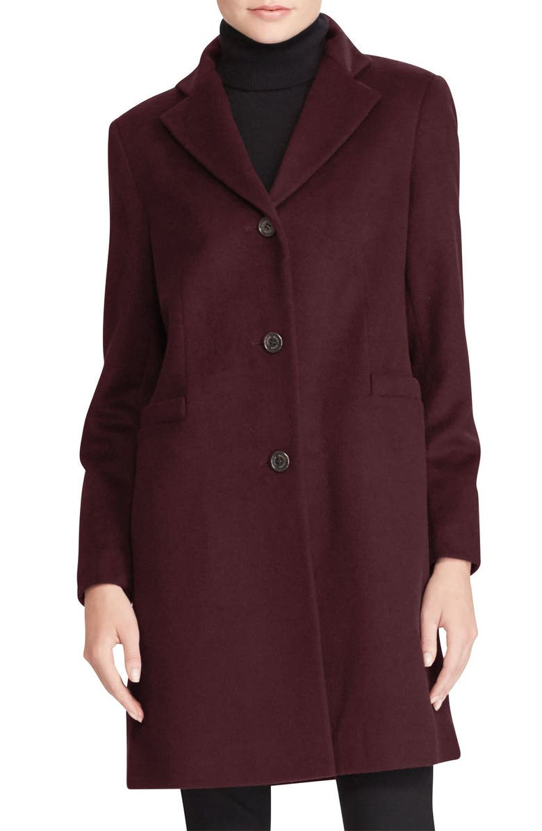 LAUREN RALPH LAUREN Wool Blend Reefer Coat, Main, color, BURGUNDY