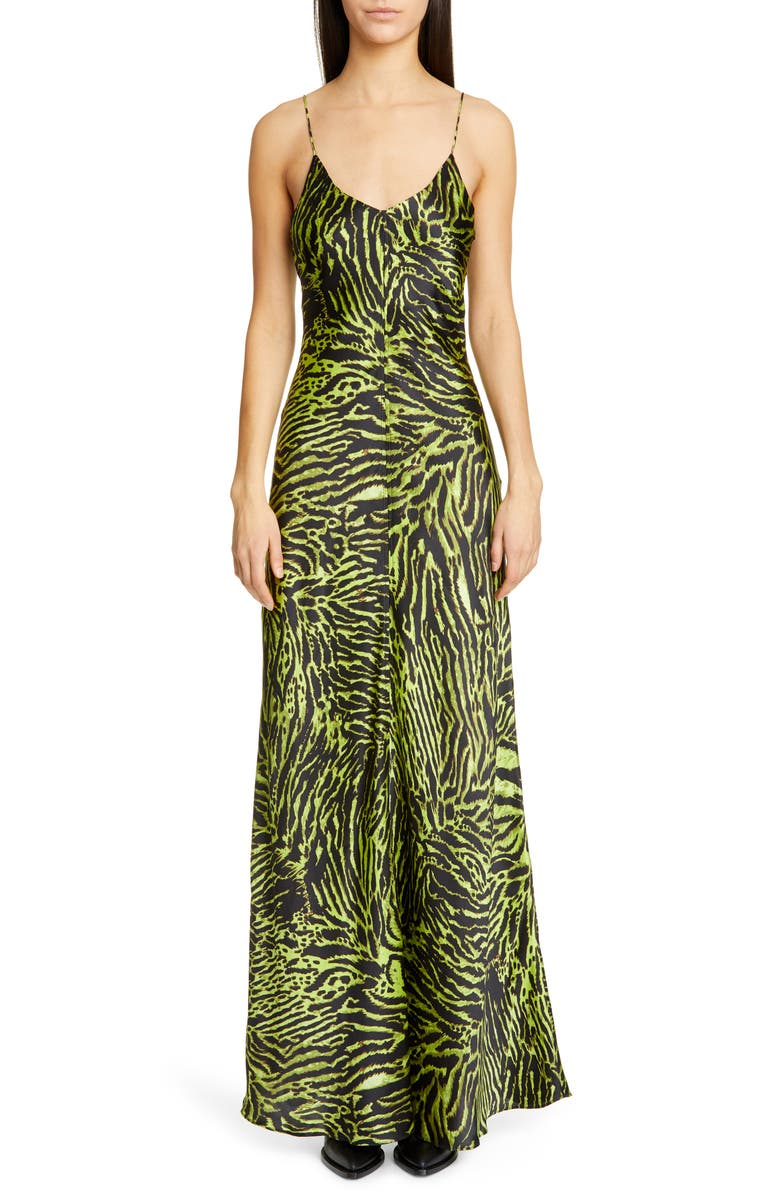 GANNI Tiger Print Silk Satin Gown, Main, color, LIME TIGER