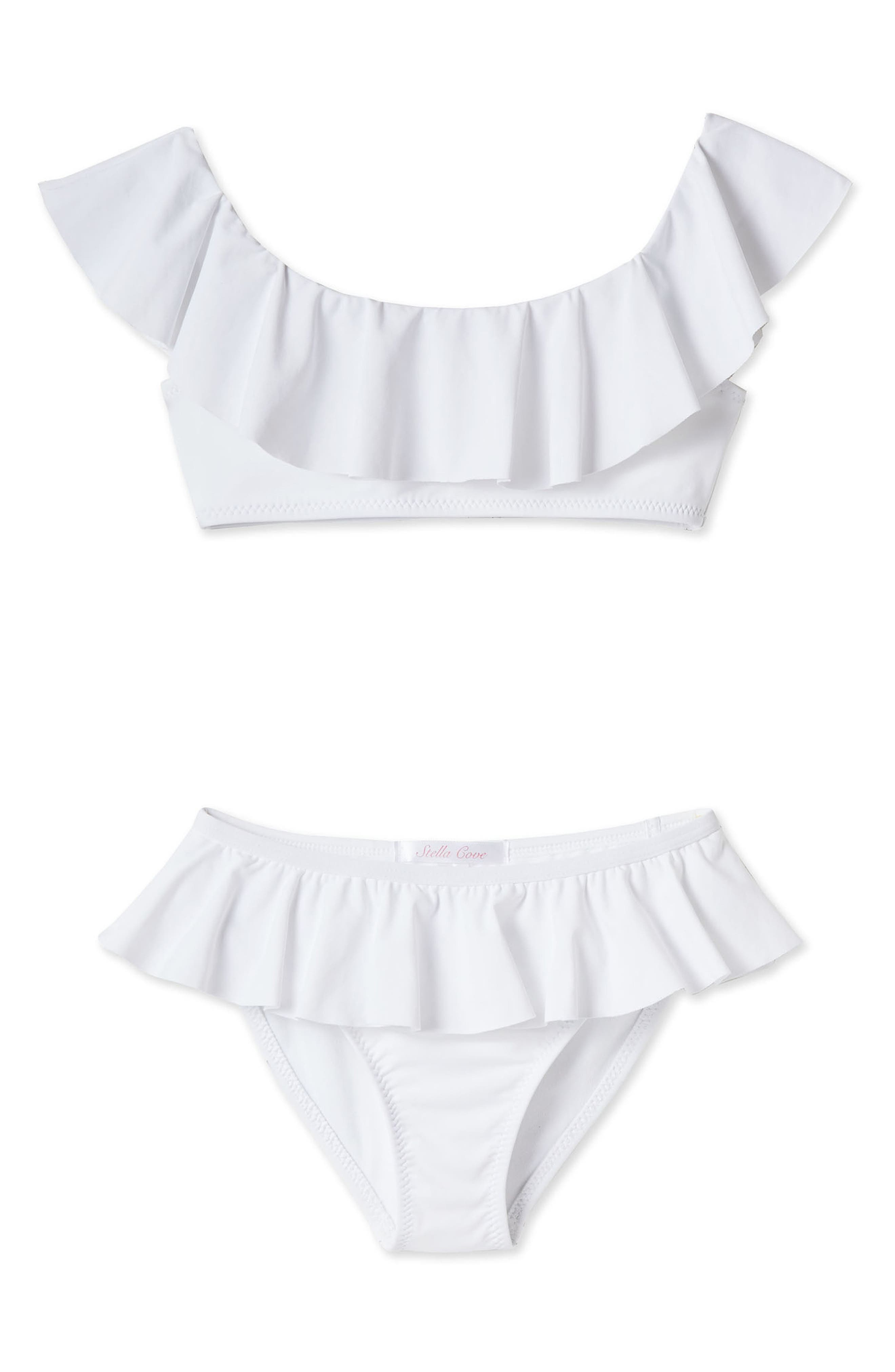 7fbbd7af7d9 Girl's Stella Cove Ruffle Two-Piece Swimsuit, White