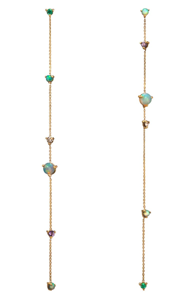 WWAKE Opal & Diamond Linear Chain Earrings, Main, color, YELLOW GOLD