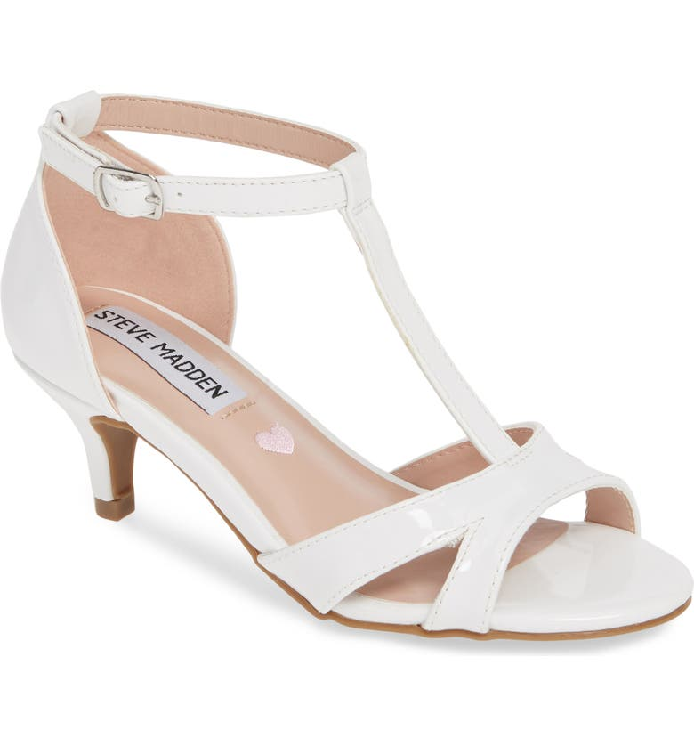 STEVE MADDEN Princess T-Strap Sandal, Main, color, WHITE