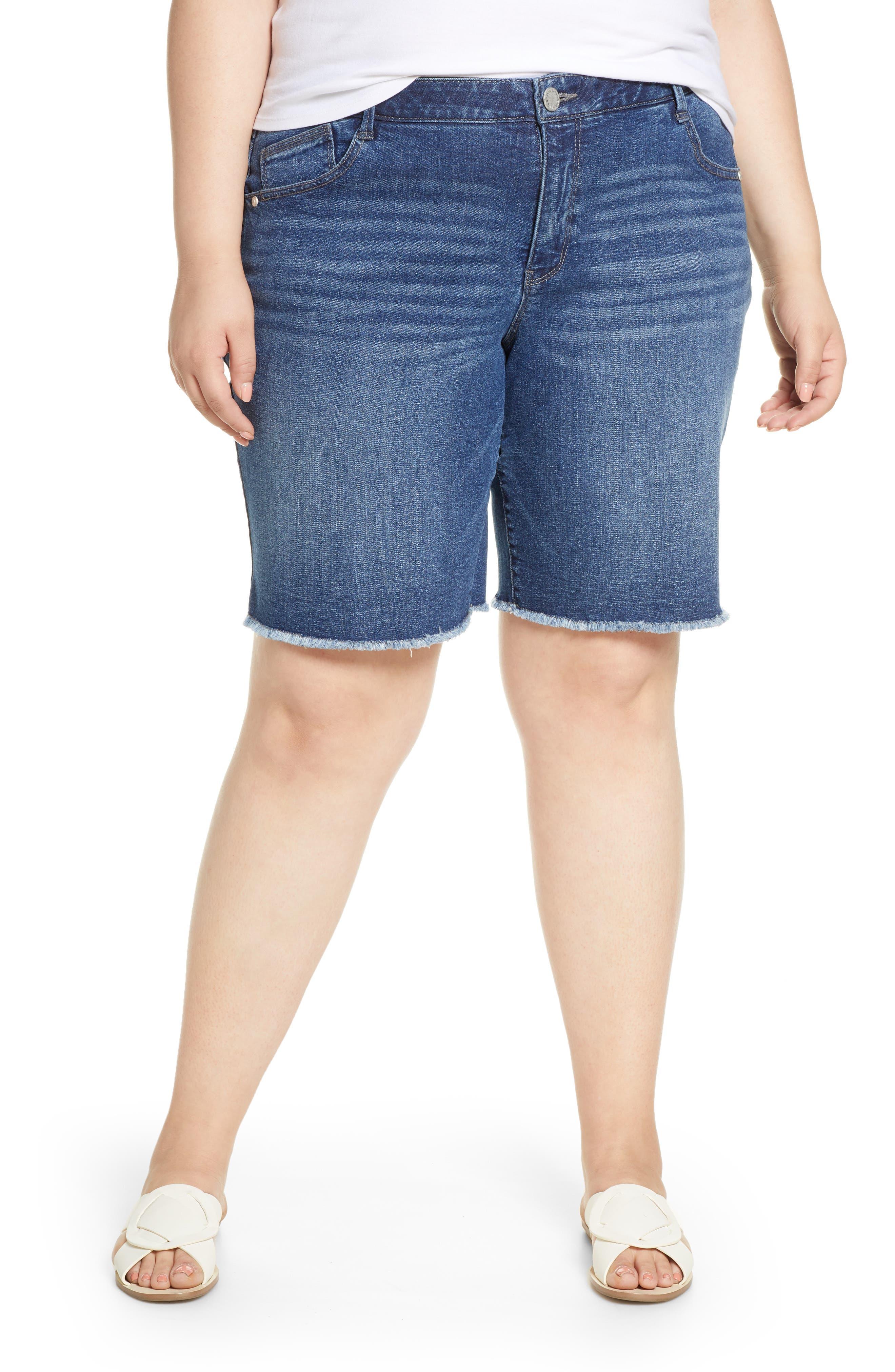 Plus Women's Wit & wisdom Ab-Solution Retro Denim Bermuda Shorts