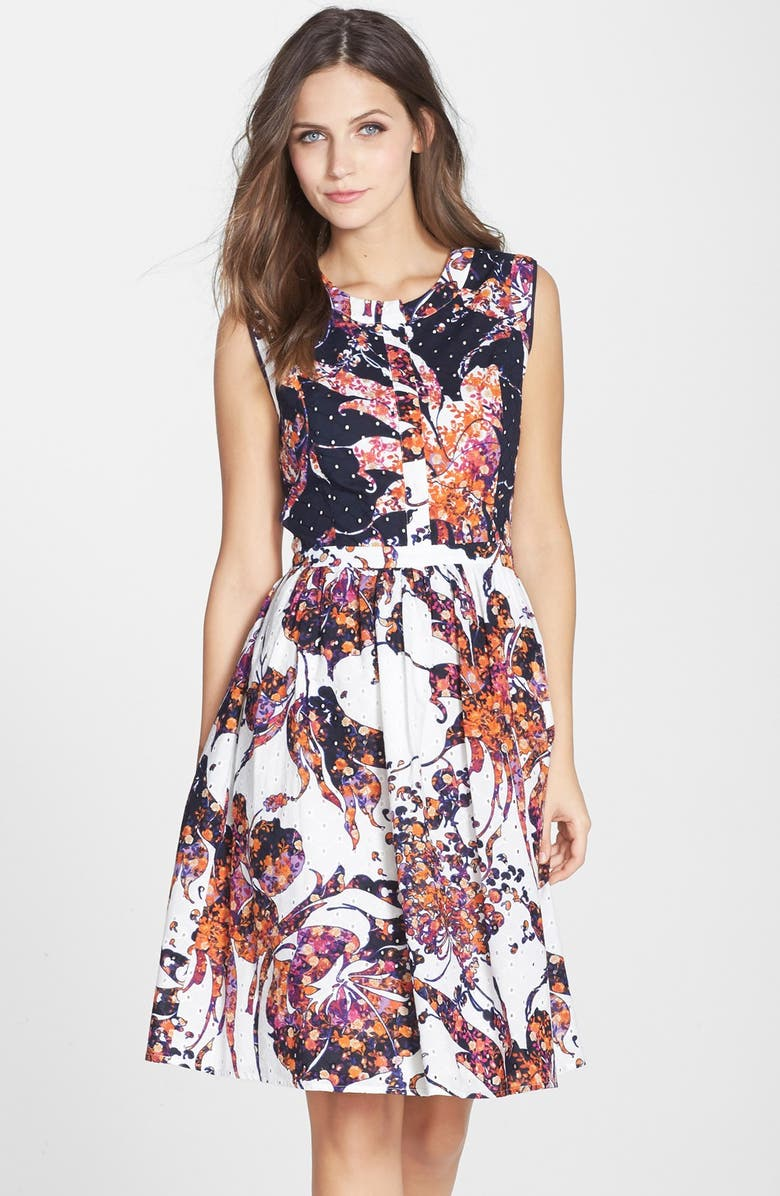 ADRIANNA PAPELL Floral Print Eyelet Shirtdress, Main, color, 498