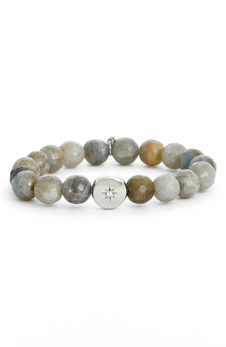 ANZIE Star Charm Bracelet, Main, color, SILVER/ GREY