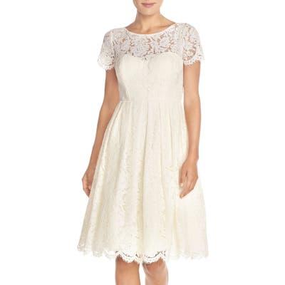 Jenny Yoo Cadence Keyhole Back Lace Fit & Flare Dress