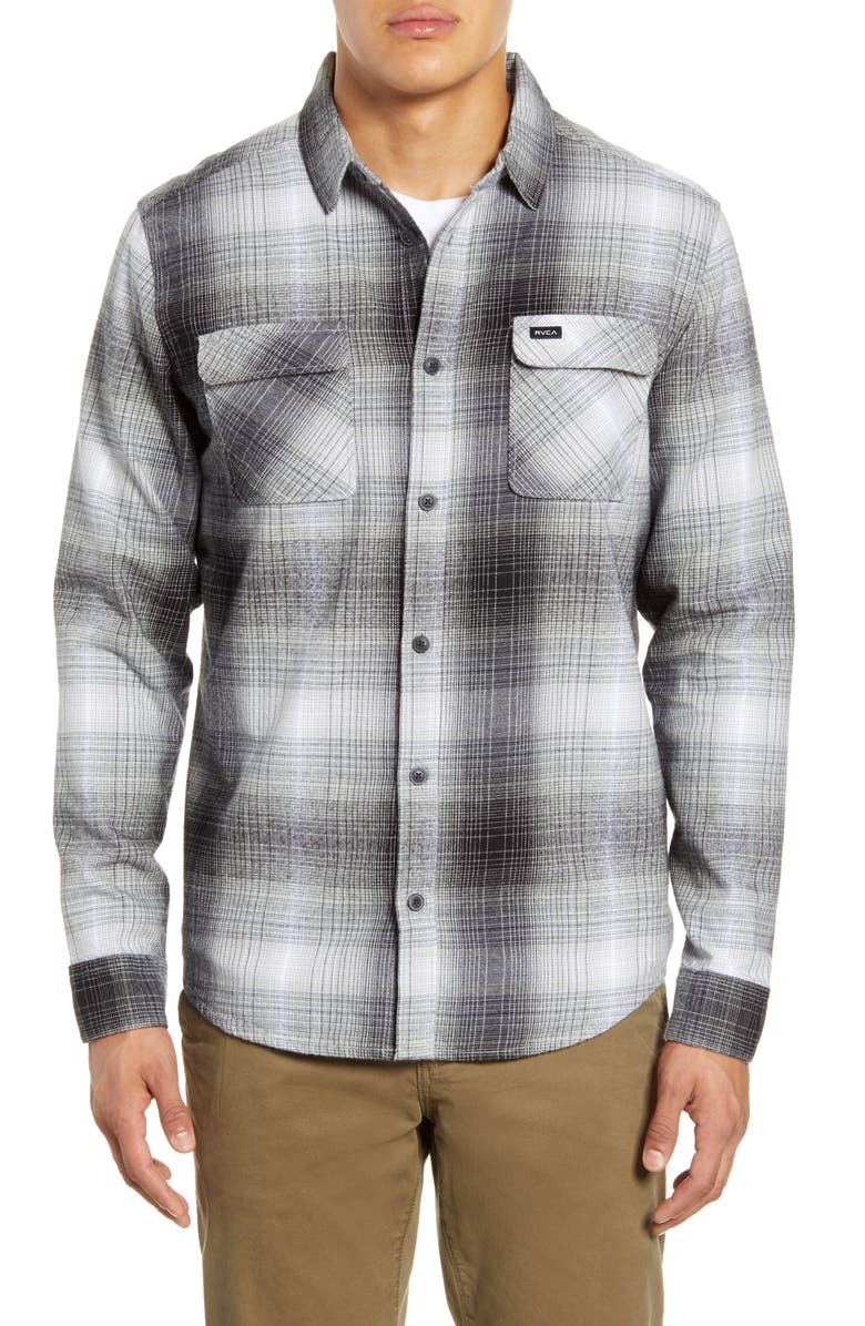 RVCA Muir Button-Up Flannel Shirt, Main, color, BLACK/ WHITE