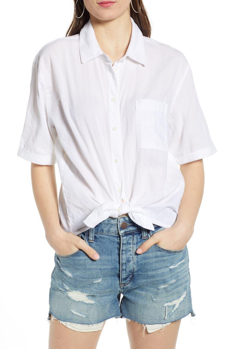 TREASURE & BOND Stripe Shirt, Main, color, WHITE SHALLIS STRIPE