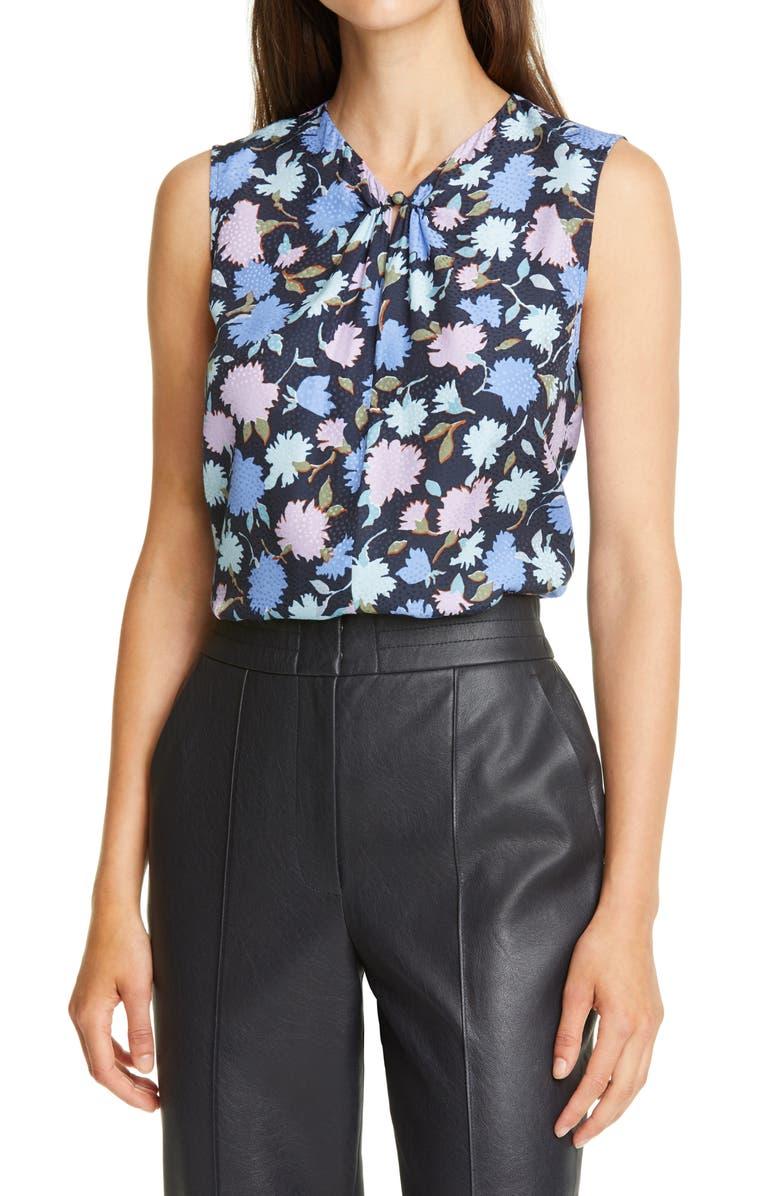 REBECCA TAYLOR Pom Floral Silk Blend Jacquard Top, Main, color, NAVY COMBO