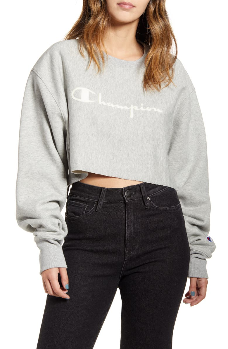 CHAMPION Logo Crop Sweatshirt, Main, color, OXFORD GRAY