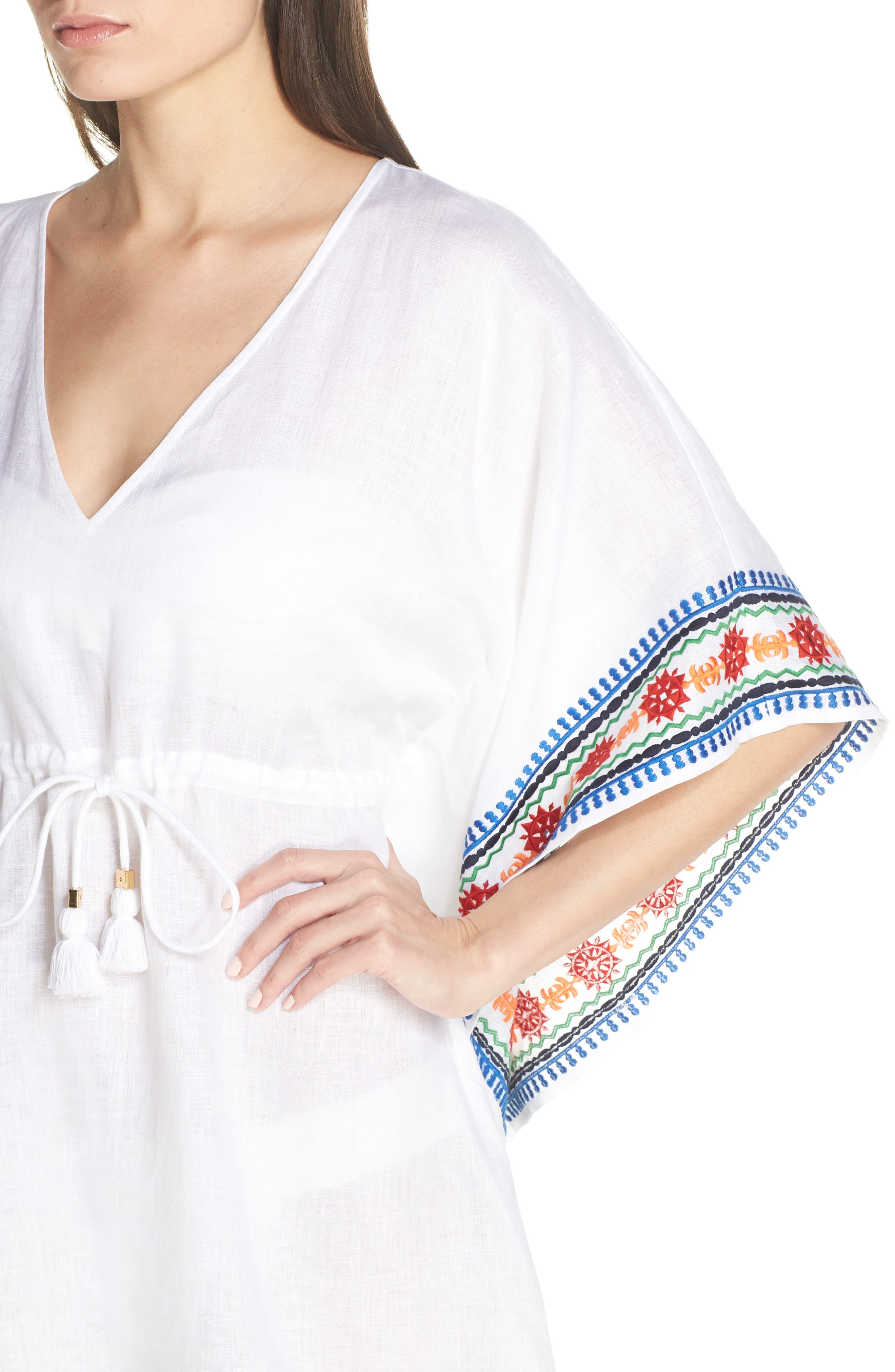 ,                             Embroidered Cover-Up Caftan,                             Alternate thumbnail 4, color,                             WHITE