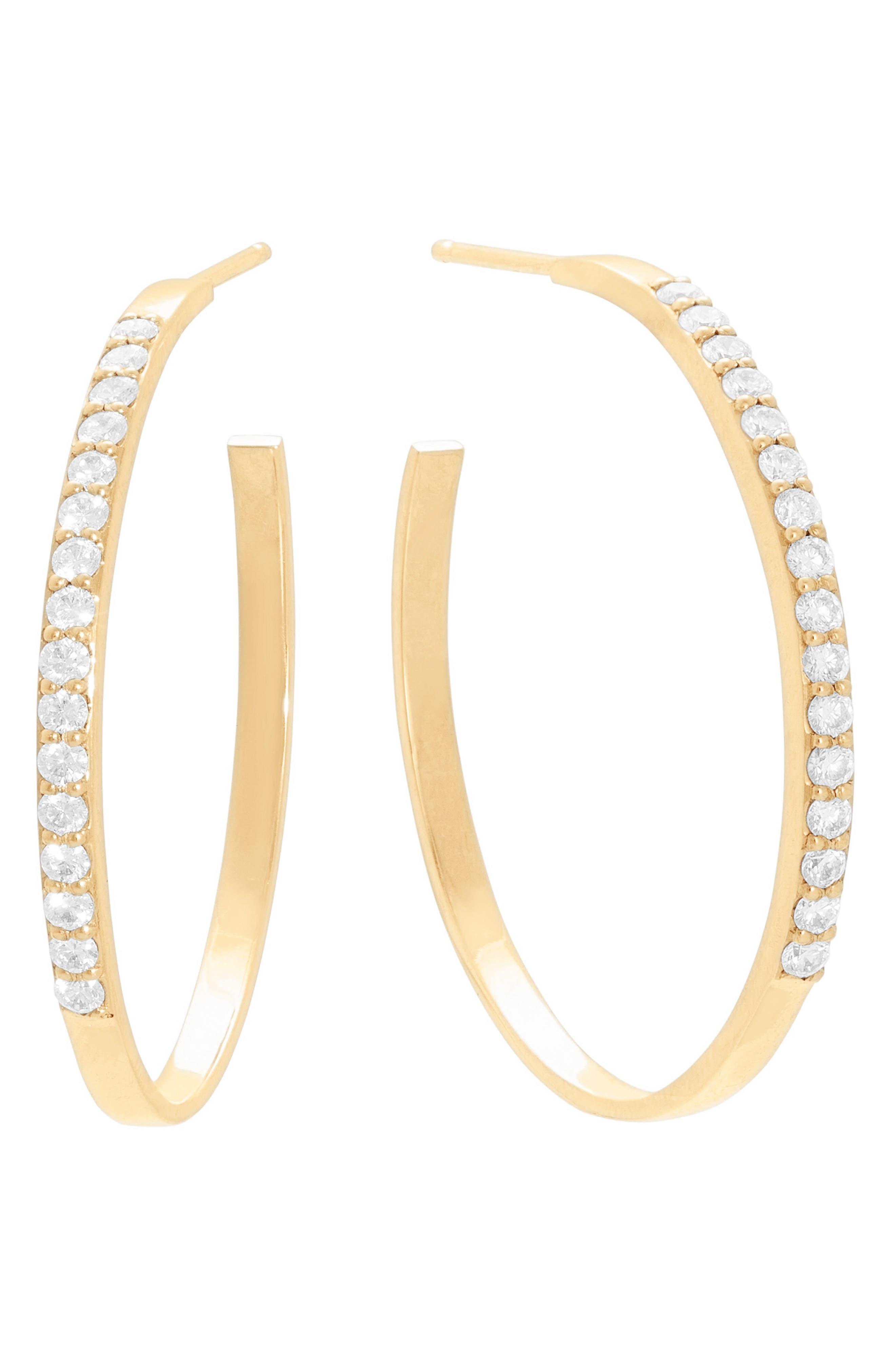 Block Diamond Hoop Earrings