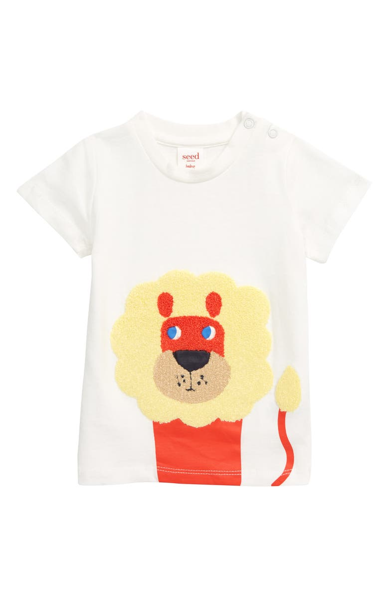 SEED HERITAGE Chenille Lion Appliqué T-Shirt, Main, color, VINTAGE WHITE