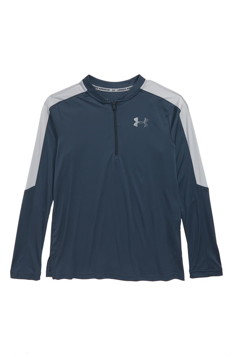 UNDER ARMOUR Half Zip Long Sleeve HeatGear<sup>®</sup> Shirt, Main, color, WIRE/ MOD GRAY