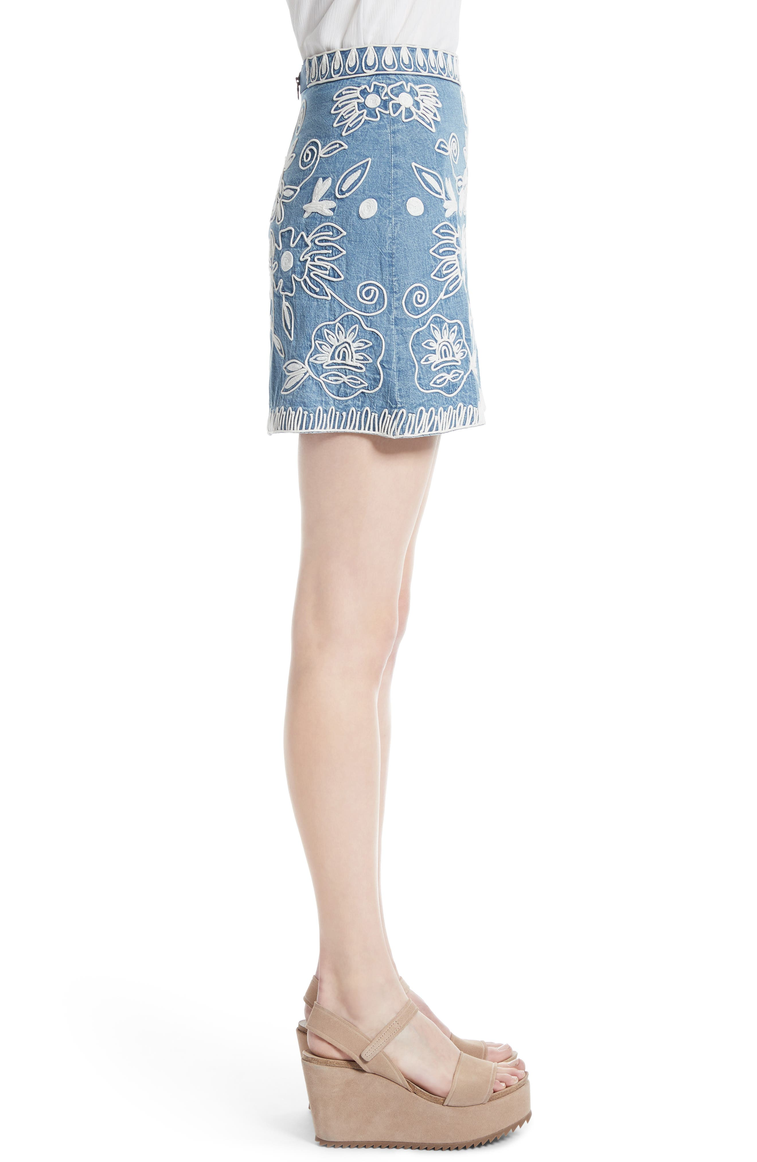 ,                             Riley Embroidered Chambray Miniskirt,                             Alternate thumbnail 3, color,                             405