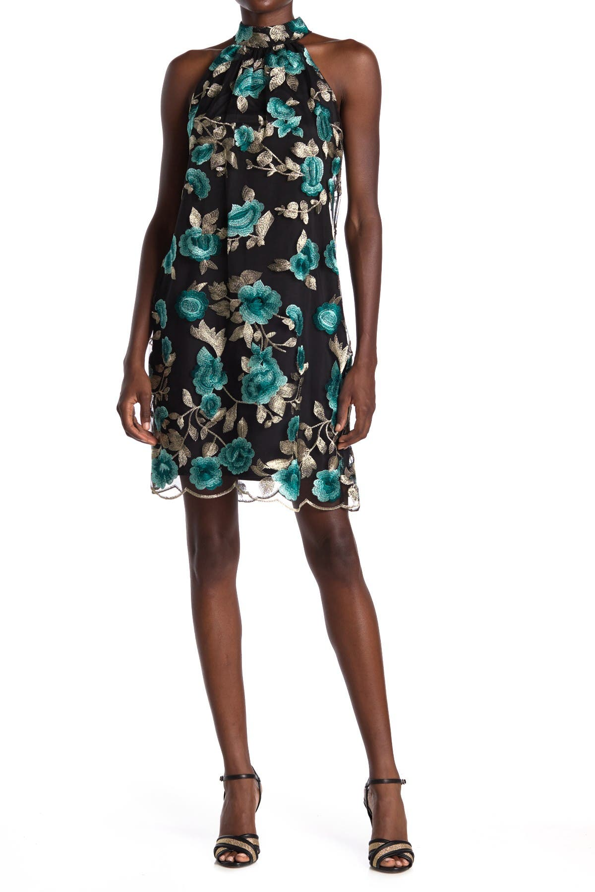 Image of trina Trina Turk Cian Floral Embroidered Scalloped Shift Dress