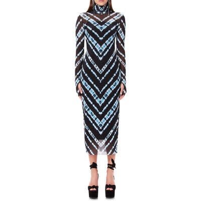 Afrm Shailene Long Sleeve Print Mesh Dress, Blue